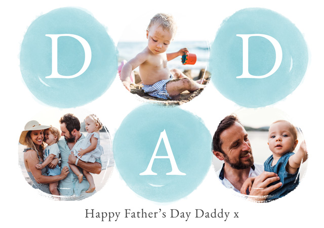 Create a Real Photo Photo Father's Day Card Collage Watercolour Dad Card