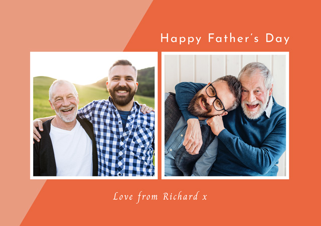 Create a Real Photo Photo Father's Day Card Two Tone Collage Card