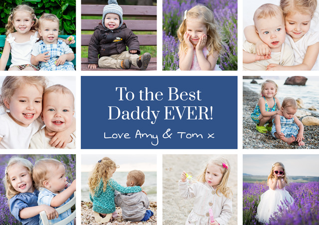 Create a Real Photo Photo Father's Day Card Collage 10 Photos Card