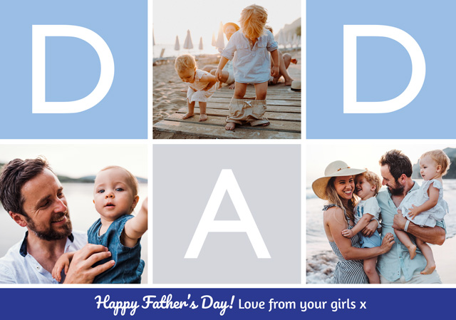 Create a Real Photo Photo Father's Day Card Dad Collage Card