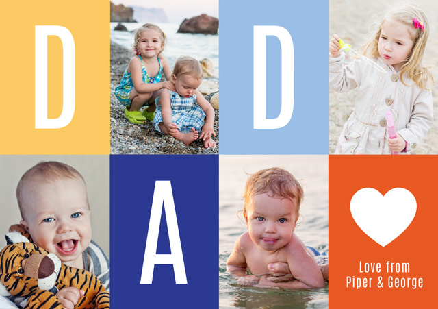 Create a Real Photo Photo Father's Day Card Collage Dad Heart Card
