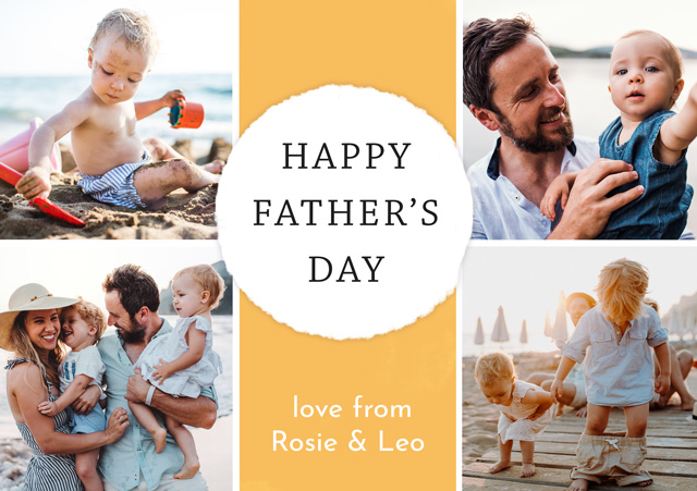 Create a Real Photo Photo Father's Day Card Collage Circle Card