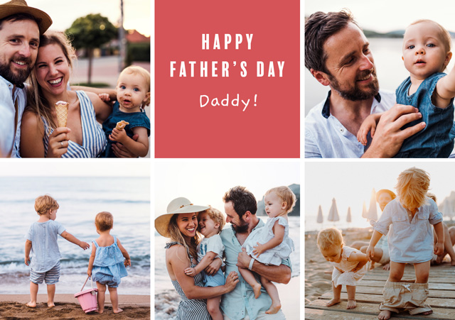 Create a Real Photo Photo Father's Day Card Collage 5 Photos Card