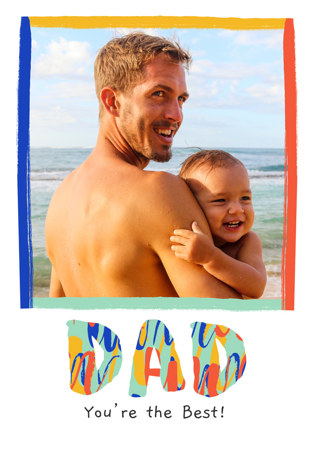 Create a Real Photo Photo Father's Day Card Modern Colourful Dad Card