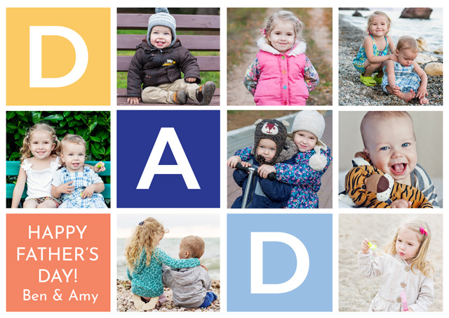 Create a Real Photo Photo Father's Day Card Dad 7 Photos Collage Landscape Card