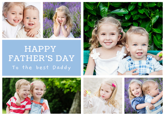 Create a Real Photo Photo Father's Day Card Collage 6 Photos Card