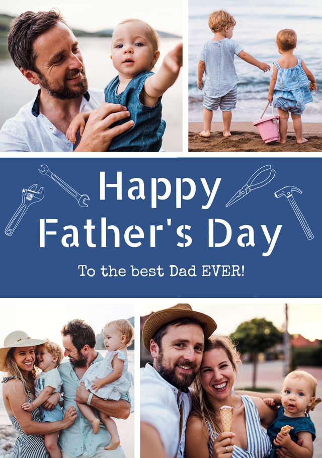 Create a Real Photo Photo Father's Day Card Collage Diy Tools Card
