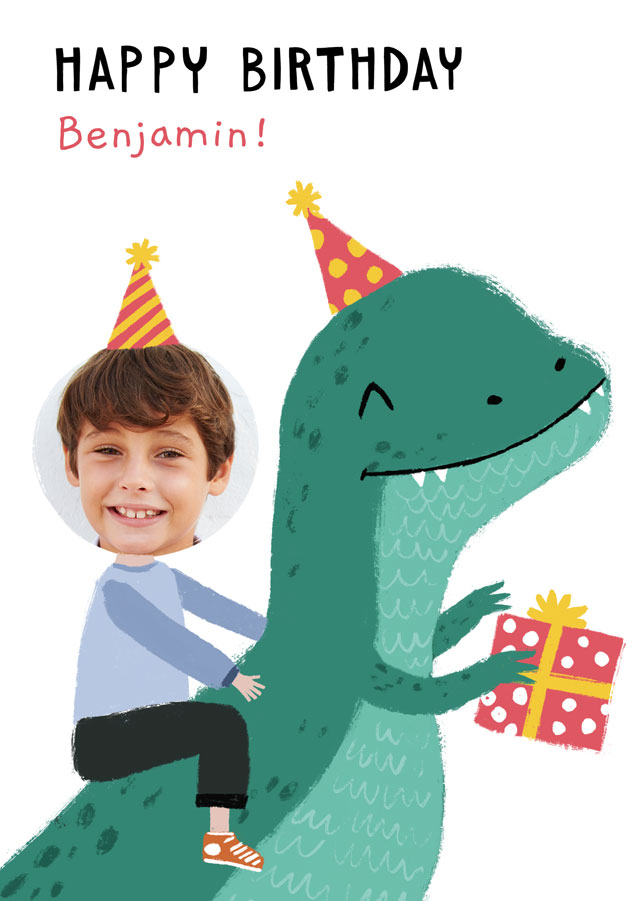 Create a personalised photo card Photo Birthday Card Dinosaur