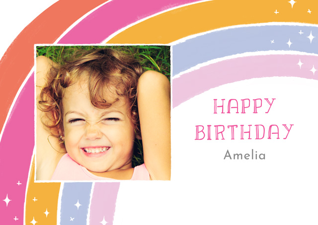 Create a Real Photo Photo Card Birthday Magic Rainbow Card