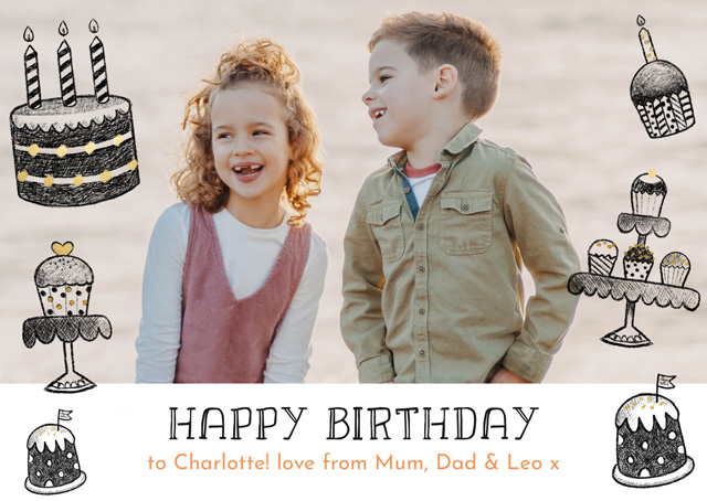 Create a Real Photo Photo Birthday Card Cakes Pencil Drawings Card