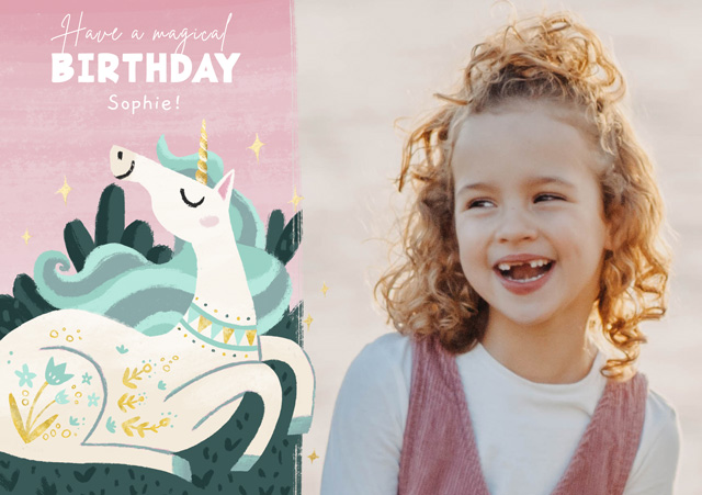 Create a Real Photo Photo Birthday Card Unicorn Magic Card
