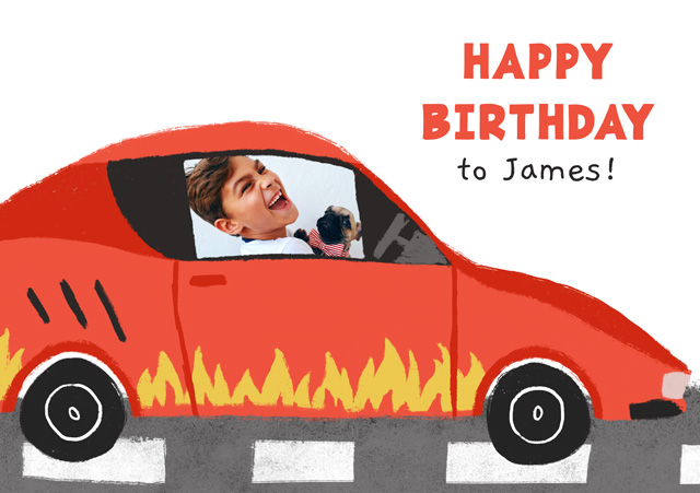 Create a Real Photo Photo Card Birthday Car Card