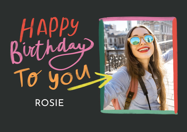 Create a Real Photo Photo Birthday Card Painted Frame Card