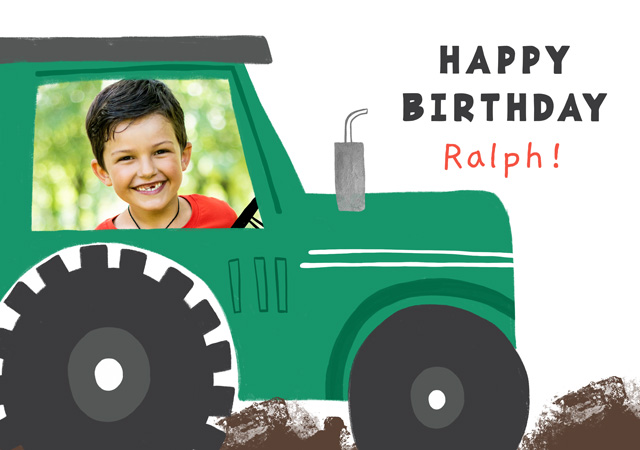 Create a Real Photo Photo Card Birthday Tractor Card