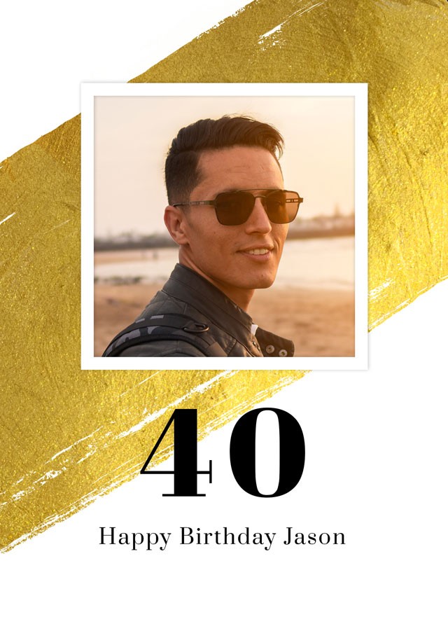 Create a Real Photo Photo Card Birthday Gold Milestone 40 Card