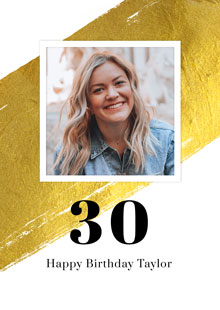 Create a Real Photo Photo Card Birthday Gold Milestone 30 Card