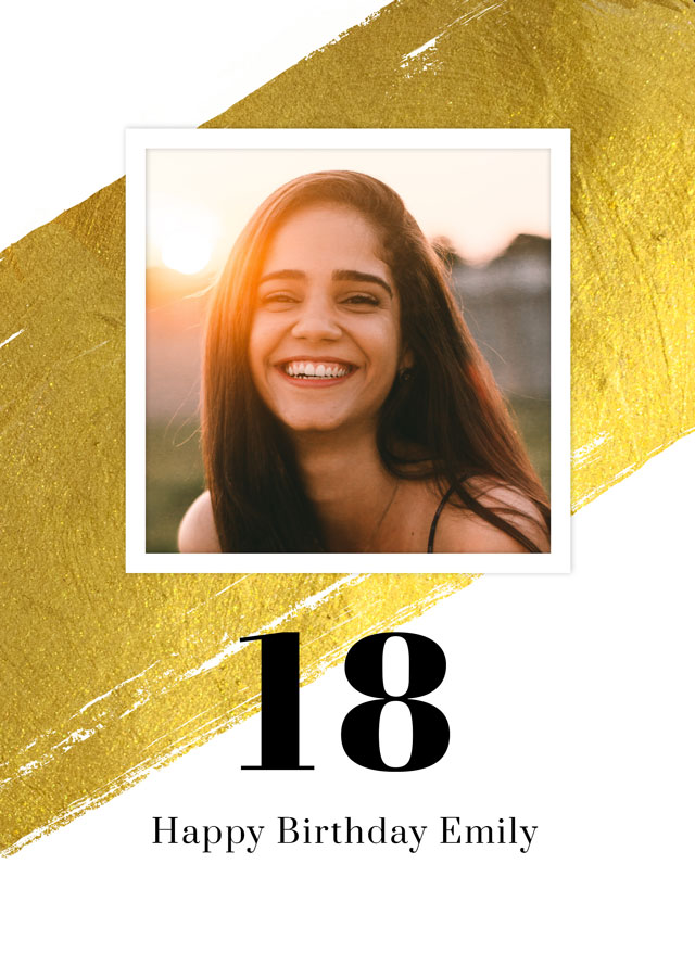 Create a Real Photo Photo Card Birthday Gold Milestone 18 Card