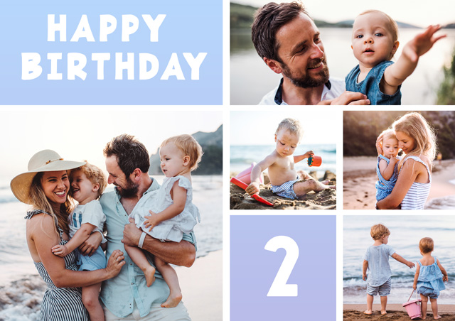 Create a Real Photo Photo Birthday Card 5 Collage Photos Milestone Card