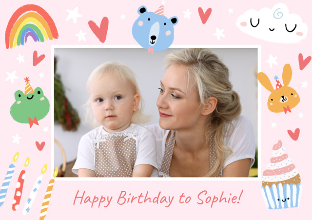 Create a Real Photo Photo Card Birthday Illustrated Border Card