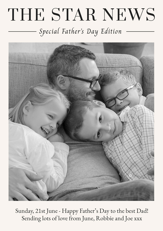 Create a Real Photo Photo Father's Day Card News Card