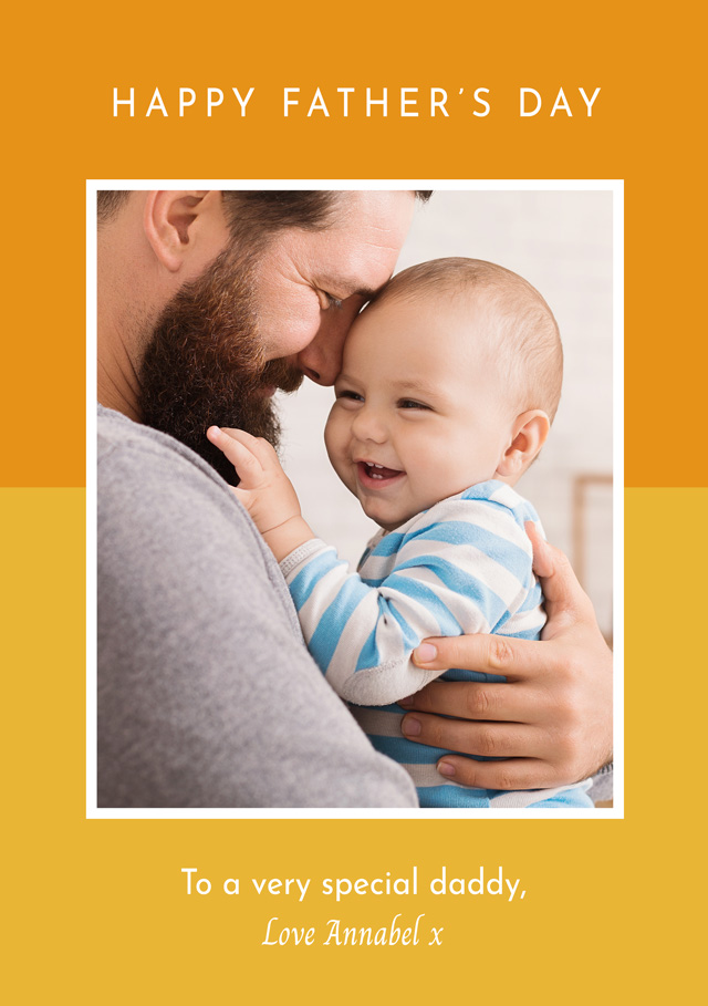 Create a Real Photo Photo Father's Day Card Two Tone Border Card