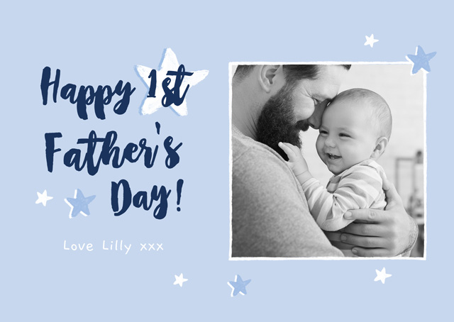 Create a Real Photo Photo Father's Day Card Happy First Father's Day Card