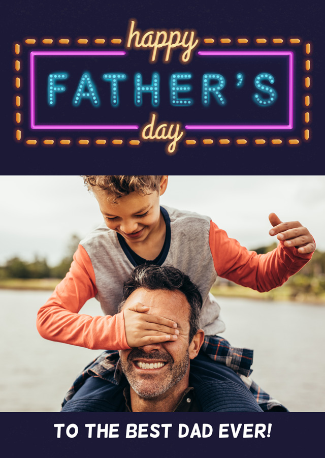 Create a Real Photo Photo Father's Day Card Neon Lights Card