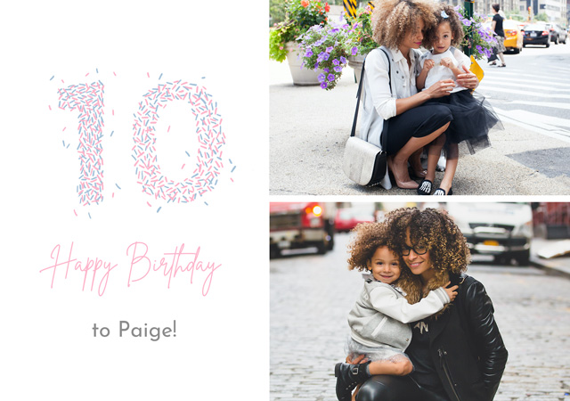 Create a Real Photo Photo Card Birthday Milestone 10 Sprinkles Collage Card