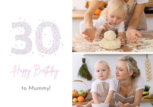 Create a Real Photo Photo Card Birthday Milestone 30 Sprinkles Collage Card