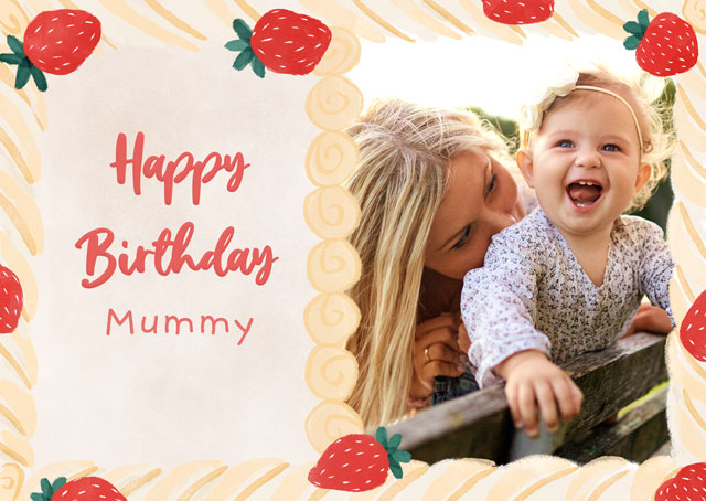 Create a Real Photo Photo Card Birthday Cream Cake Card
