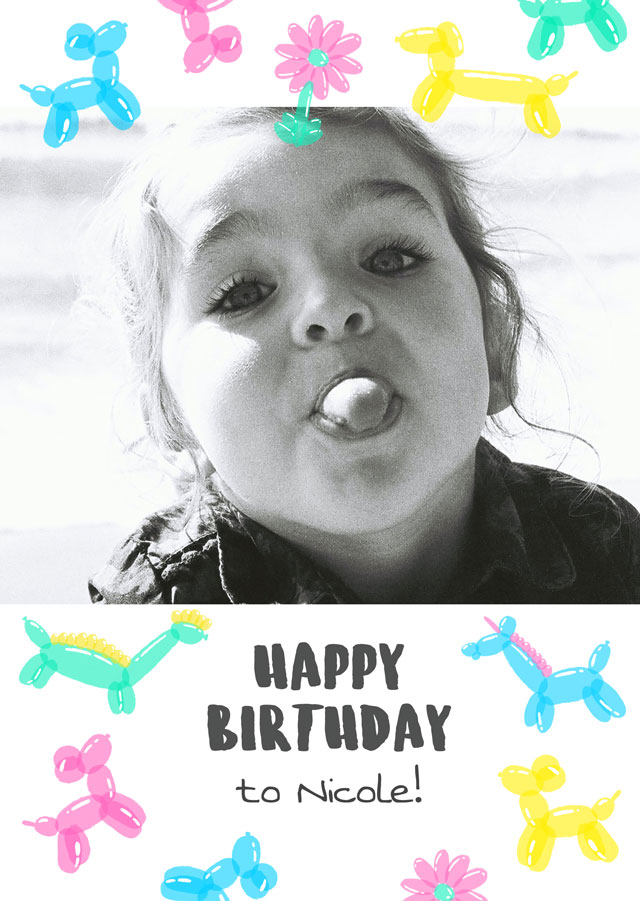 Create a Real Photo Photo Card Birthday Shaped Baloons Card