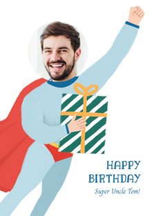 Create a personalised photo card Photo Birthday Card Superman