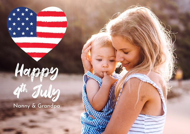 Create a Real Photo Photo Card 4th July United States Flag Heart Card