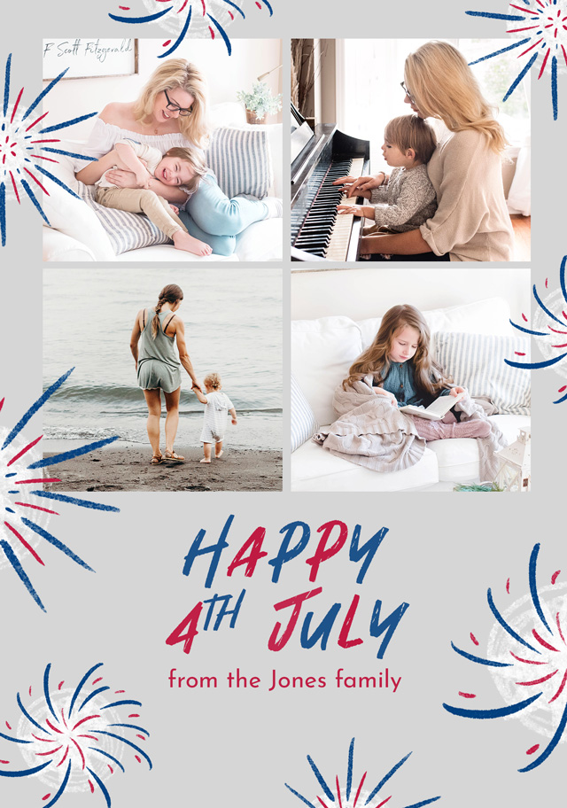 Create a Real Photo Photo Card 4th July Fireworks Collage Card