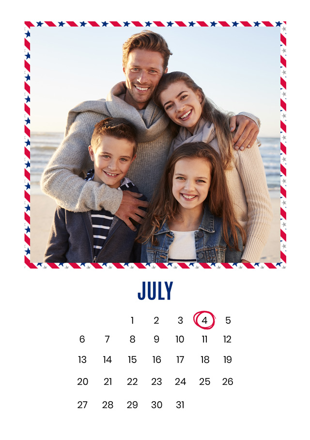 Create a Real Photo Photo Card 4th July Calendar Card
