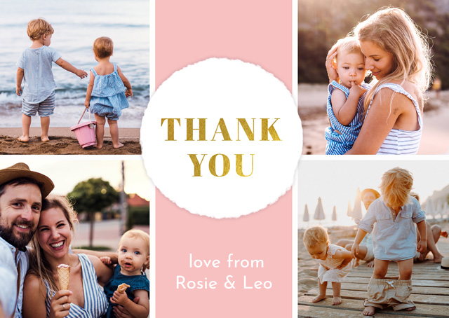 Create a Real Photo Photo Thank You Card Collage Circle Card