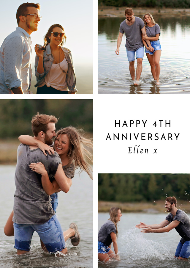 Create a Real Photo Anniversary 4 Photo Collage Card Card