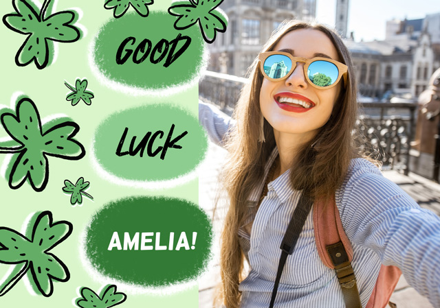 Create a personalised photo card Photo Card Good Luck Clovers Bubble