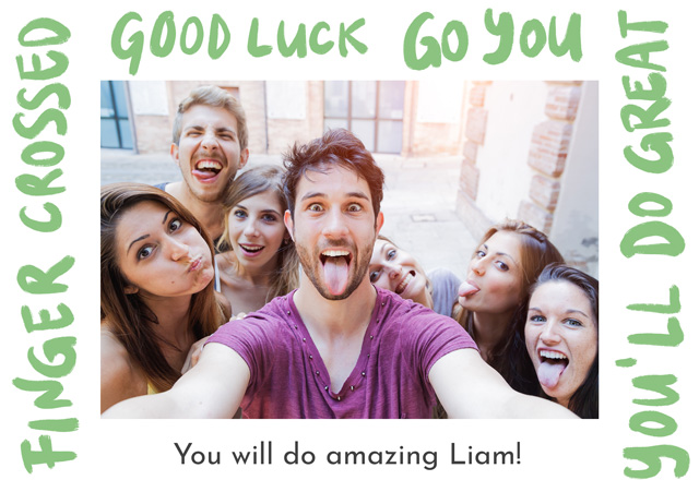 Create a personalised photo card Photo Card Good Luck  Written Border