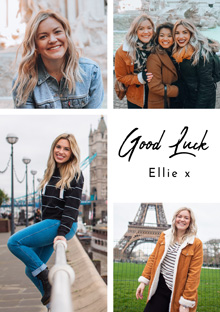 Create a Real Photo Photo Card Good Luck Collage 4 Photos Card
