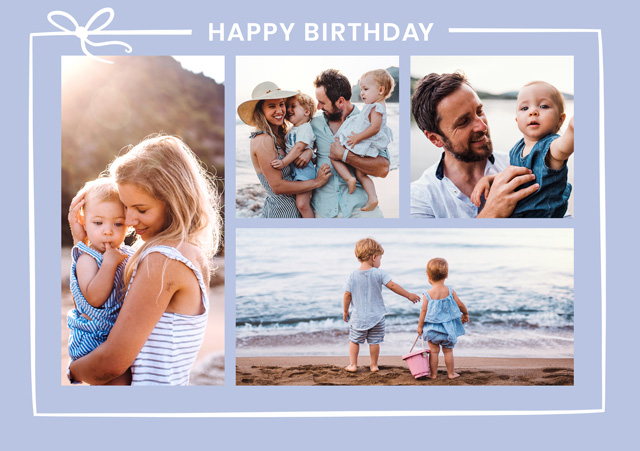 Create a Real Photo Photo Card Birthday Collage With Ribbon Card