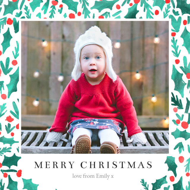 Create a Real Photo Holly | Square Photo Christmas Card Card