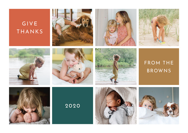 Create a personalised photo card Landscape Thanksgiving Card Modern Collage
