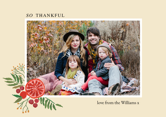Create a personalised photo card Landscape Thanksgiving Card Autumn Illustrated