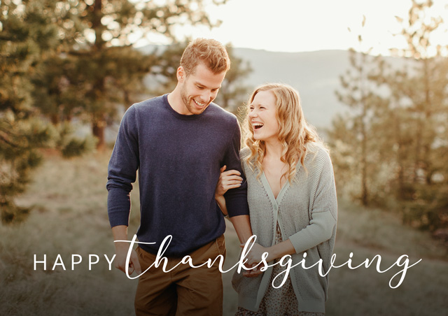 Create a personalised photo card Landscape Thanksgiving Card Classic Script