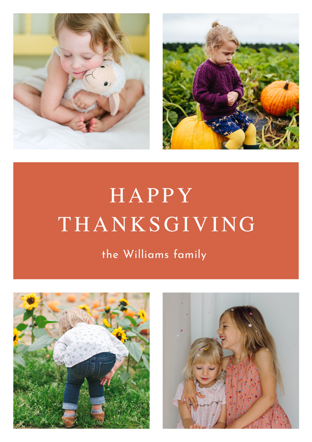 Create a personalised photo card Portrait Thanksgiving Card Timeless Classic