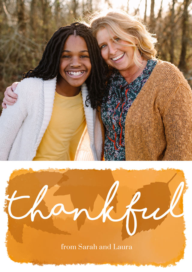 Create a personalised photo card Portrait Thanksgiving Card Watercolour