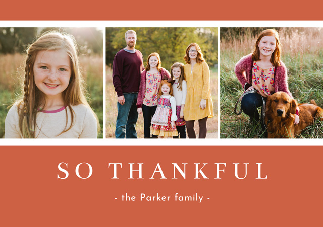 Create a personalised photo card Landscape Thanksgiving Card Thankful Collage