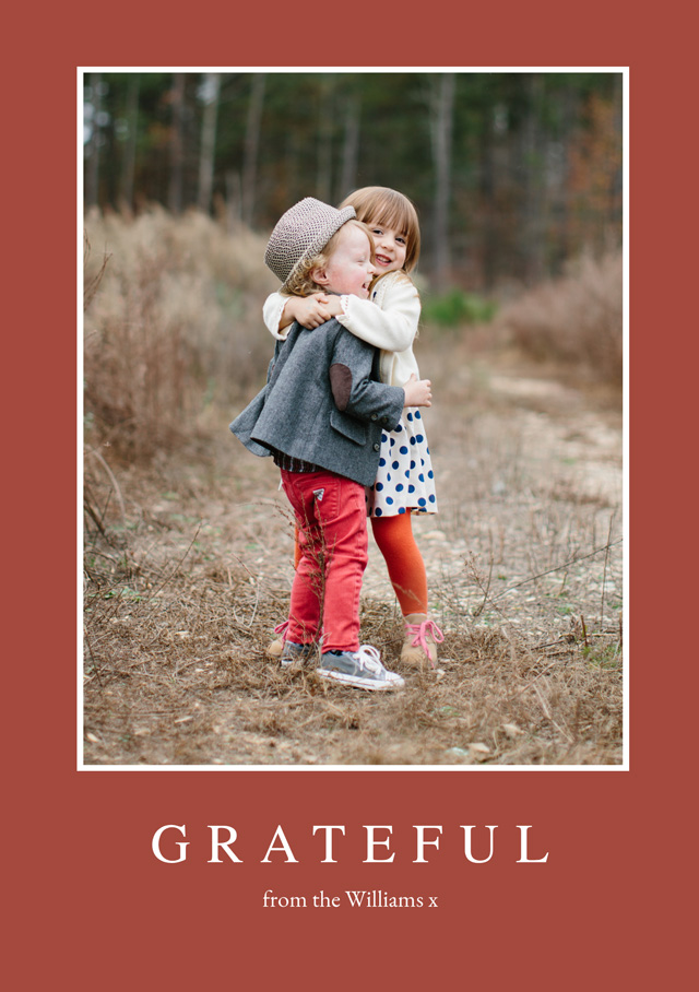 Create a personalised photo card Portrait Thanksgiving Card Grateful