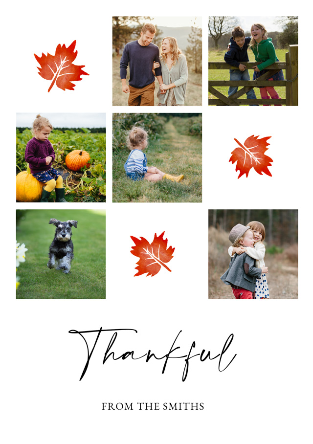 Create a personalised photo card Portrait Thanksgiving Card Autumn Leaf